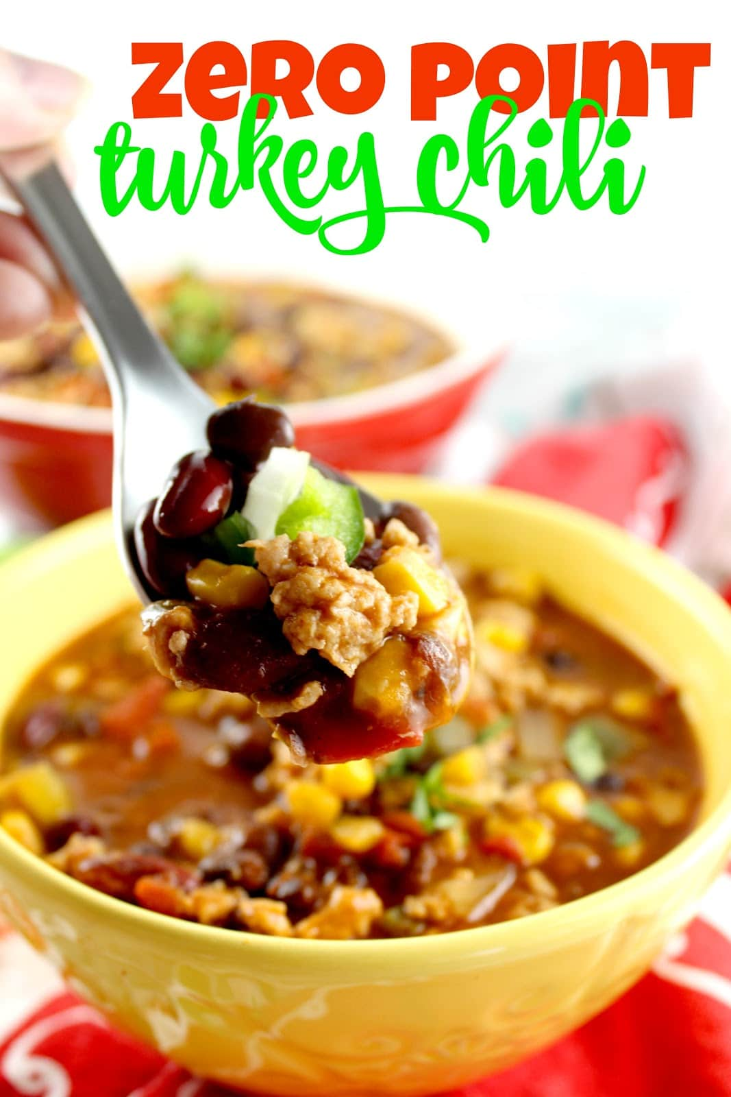 This turkey chili packs a lot of flavor and so many tastes in each bite – but the best part – it has ZERO POINTS. Now what does that mean? If you're on Weight Watchers – it means you're very happy! If you're not – it basically means – eat up!!! It's really healthy! via @foodhussy