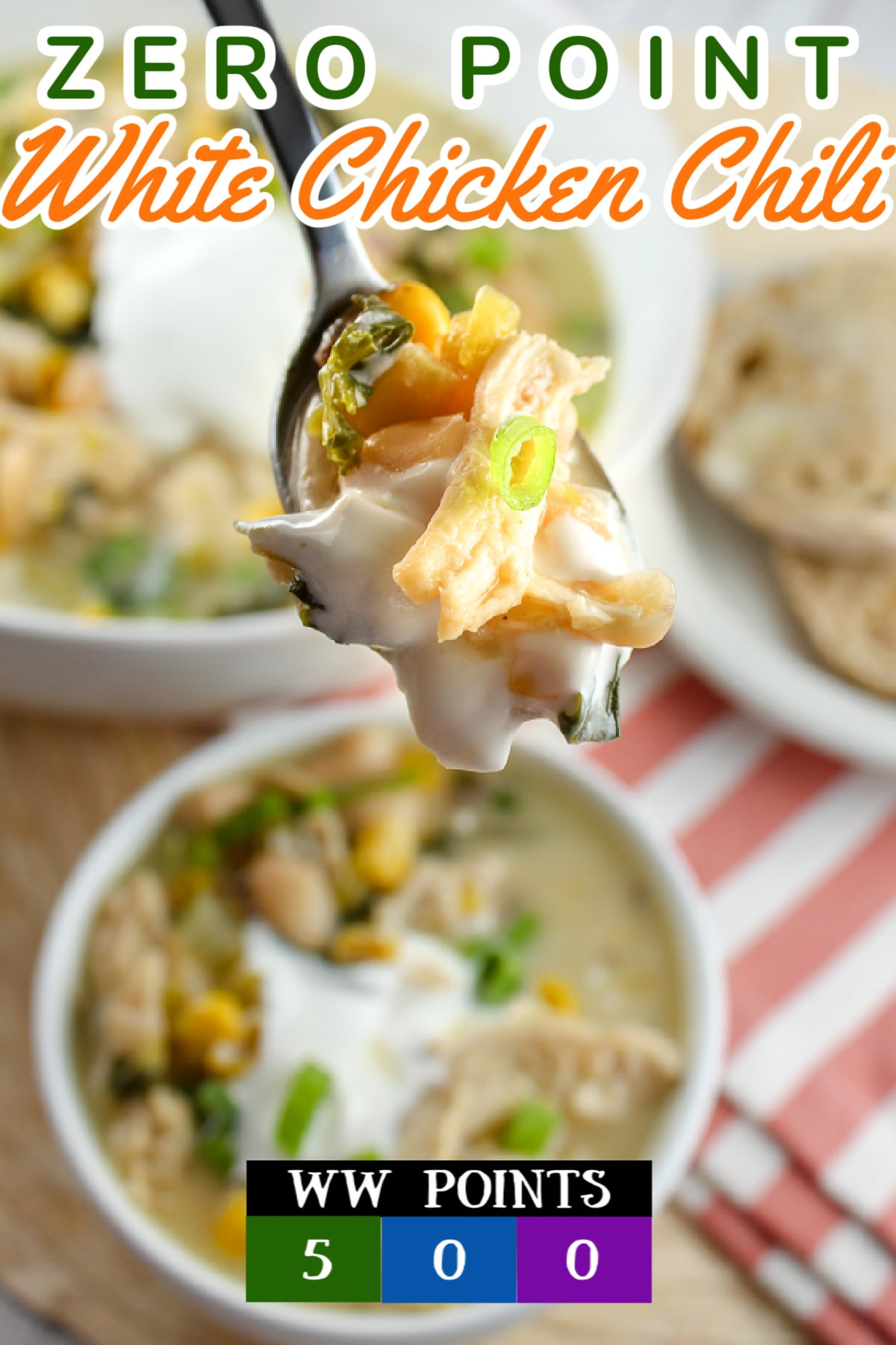 I love white chicken chili but I'm trying to watch what I eat – this recipe is perfect! It's 0 points on the new WW points list! ZERO POINTS for a filling, delicious dinner! There's even kale in it – but shhhh don't tell the family – they'll never know!  via @foodhussy