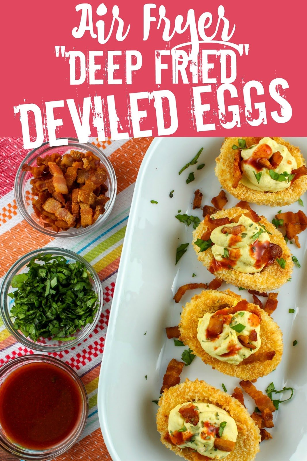 """On a trip to Atlanta, I had Deep Fried Deviled Eggs topped with bacon and hot sauce. I immediately thought - I can make these but I'm going to make them in my air fryer! Air Fried """"Deep Fried"""" Deviled eggs are healthier even better than the originals! via @foodhussy"""