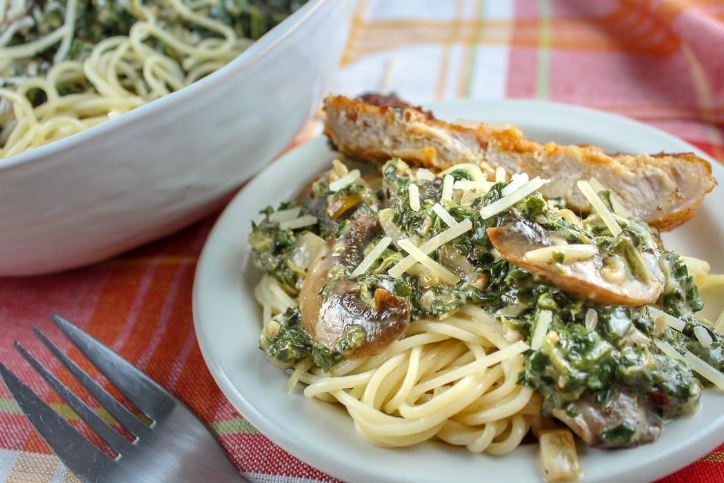 Boneless Pork Chops in Creamy Garlic Spinach Sauce
