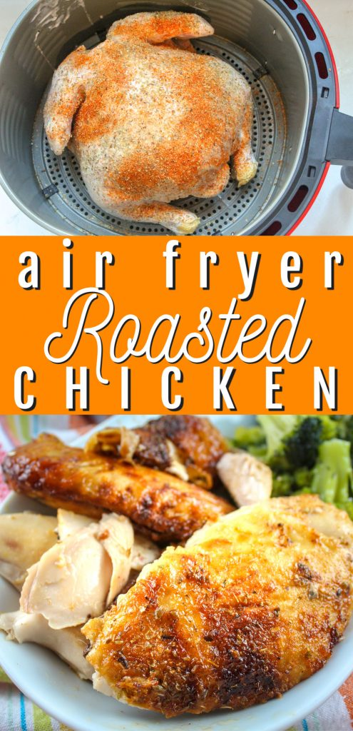 Making a whole chicken in the air fryer is super simple and makes the juiciest, most delicious chicken you'll ever have. It's great night one with mashed potatoes and veggies - but the leftovers are even better! They're perfect for sandwiches, casseroles and more!