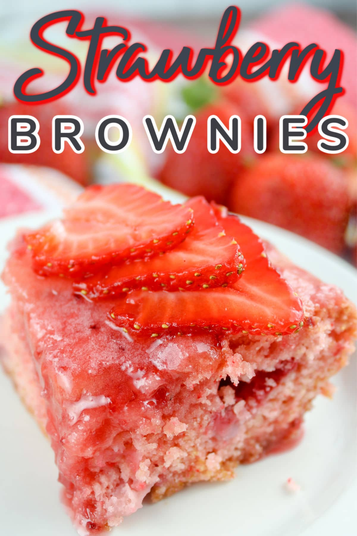 If you like strawberries - this is the dessert for you! These strawberry brownies have strawberries in the brownie, strawberry batter, strawberry glaze and strawberries on top! Booyah - come to strawberry town!  via @foodhussy