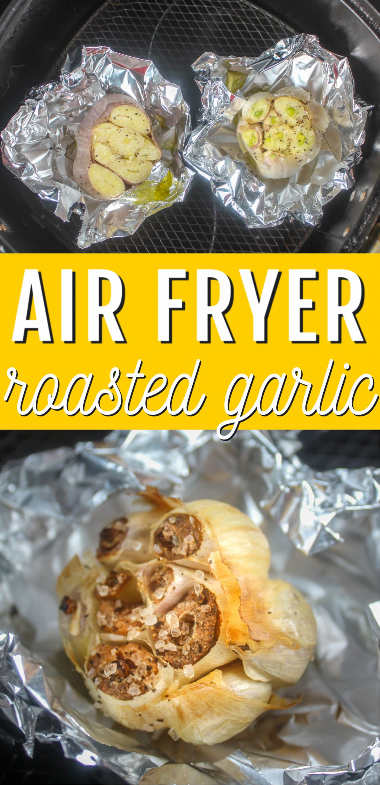 Roasted Garlic in the air fryer is so easy and has so many uses! Roasting the garlic mellows the flavor and makes this delicious almost buttery paste that you can use in so many ways! via @foodhussy