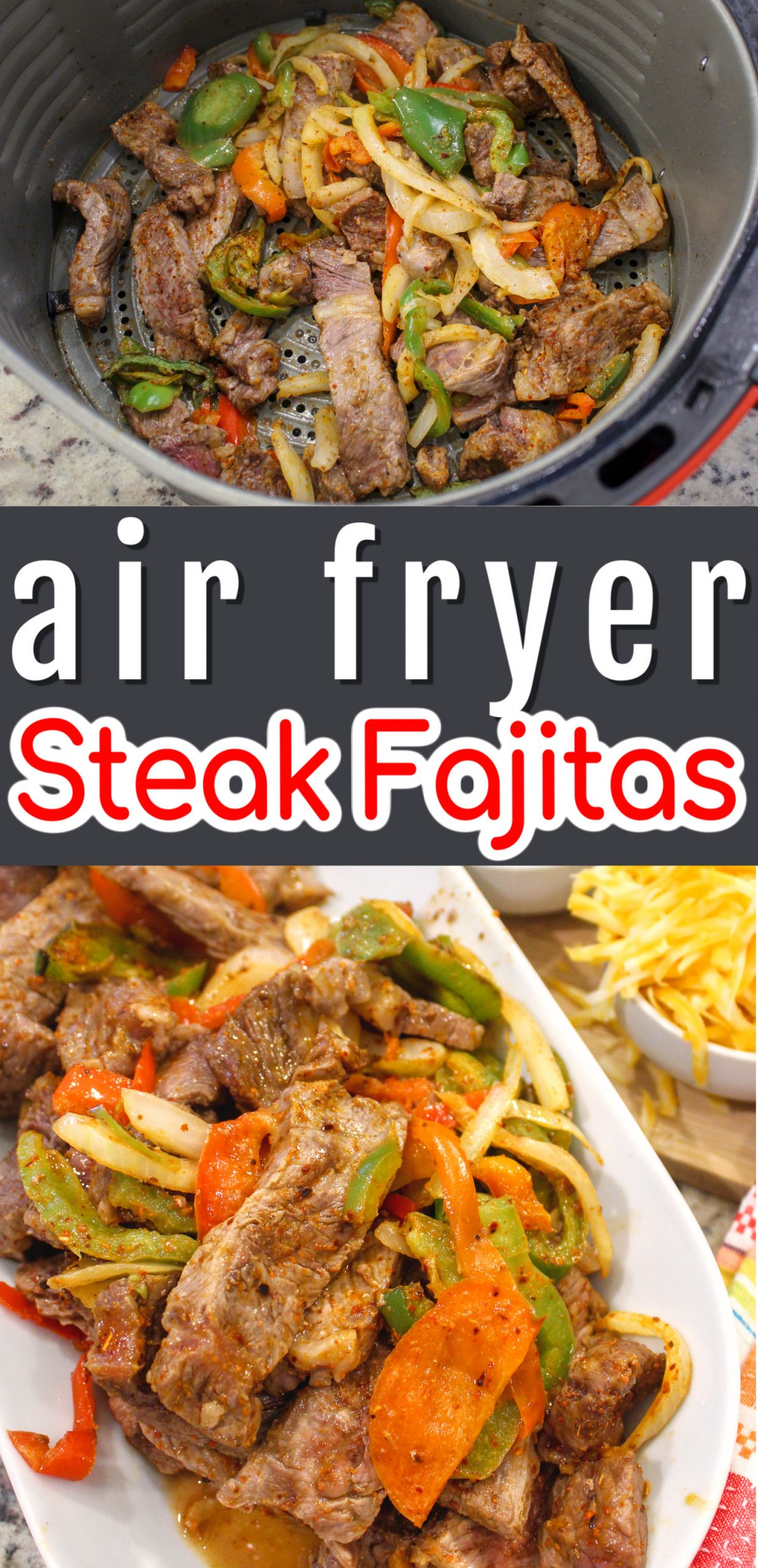 Air Fryer Steak Fajitas are my new favorite dinner! Peppers, onions, steak and some delicious seasoning - and in less than 15 minutes - it's FAJITA TIME!!!! via @foodhussy