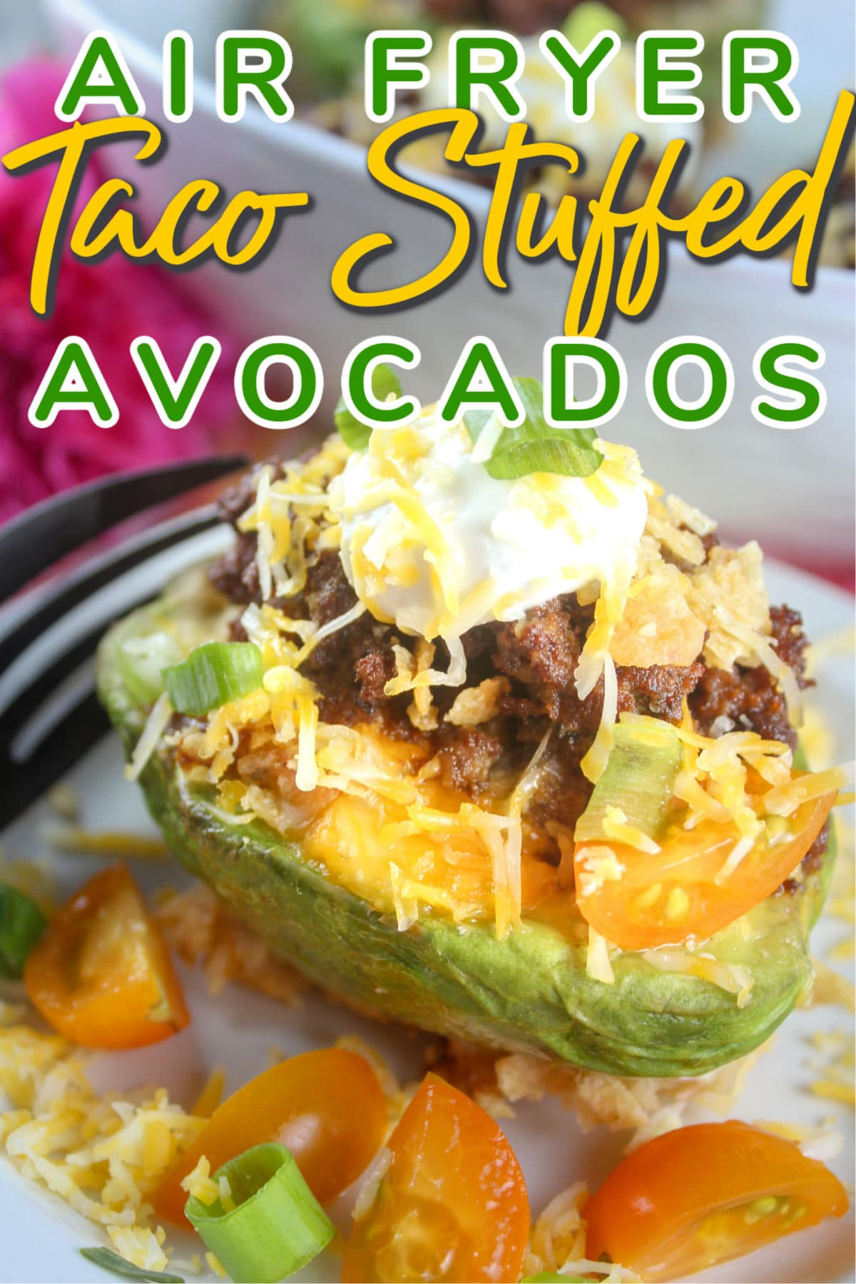 Taco Stuffed Avocados are a great dinner idea that the whole family will love and it's ready in less than 30 minutes! Creamy avocado filled with your favorite taco filling and dipped in crunchy tortilla chips! Yum!  via @foodhussy