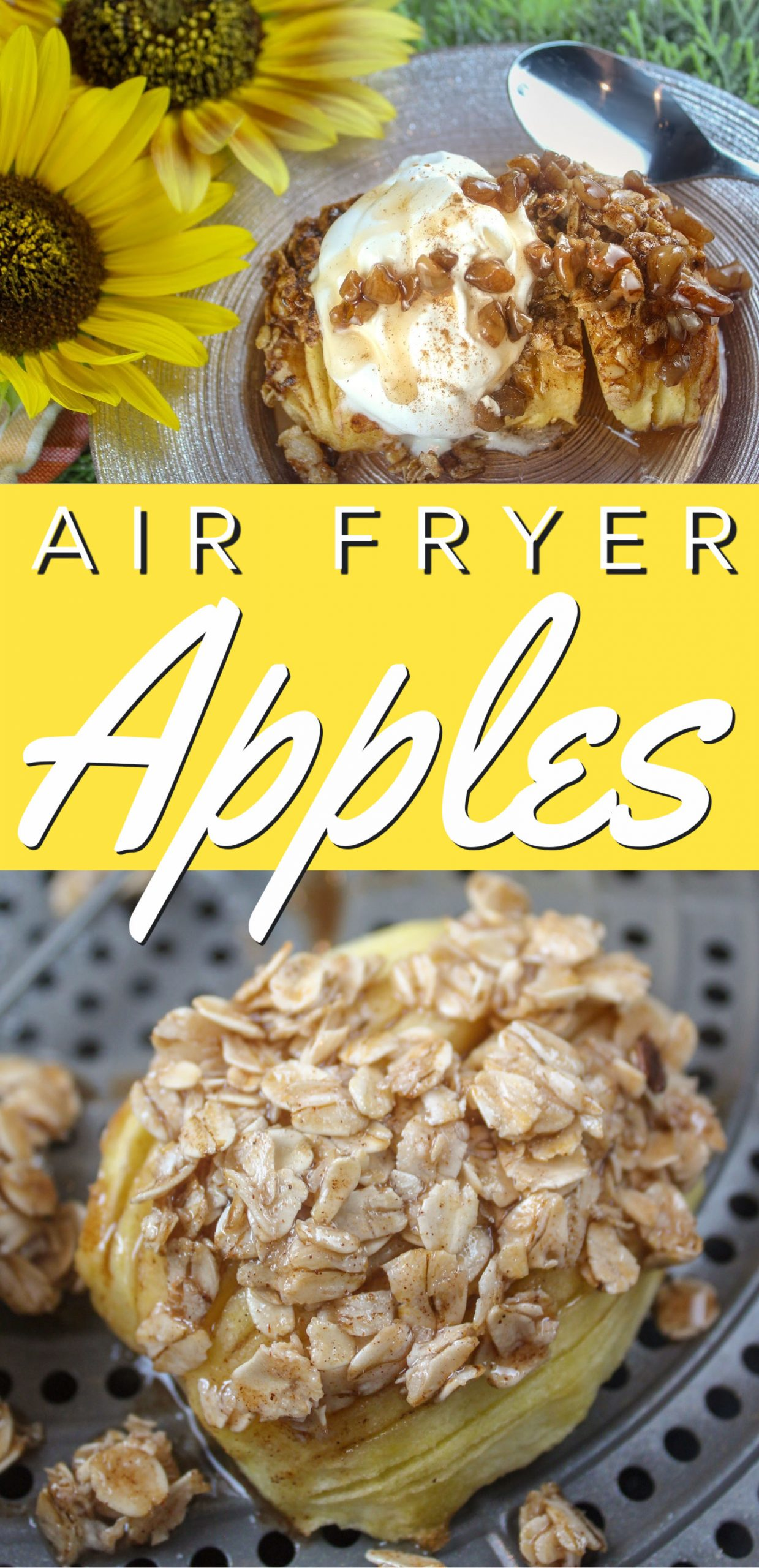 Air Fryer Baked Apples are my new obsession!!! I've been loving my Air Fryer Grilled Peaches all summer and with apple season just around the corner - I had to get in the kitchen to see what I could do. I'll just say - I outdid myself! via @foodhussy