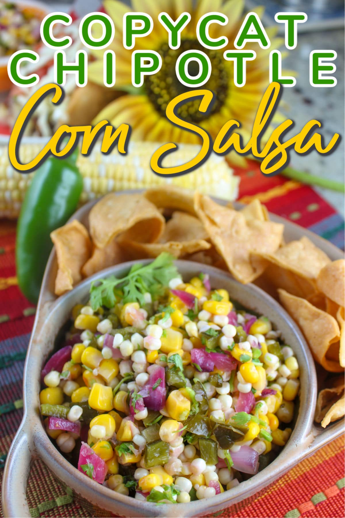 Summer means fresh corn and I'm giddy about it! One great way to use fresh corn is in a corn salsa - and I love the one at Chipotle so I decided to make it for myself - it's spicy and sweet and perfect as a chip dip, on tacos or even on chicken or salmon!  via @foodhussy
