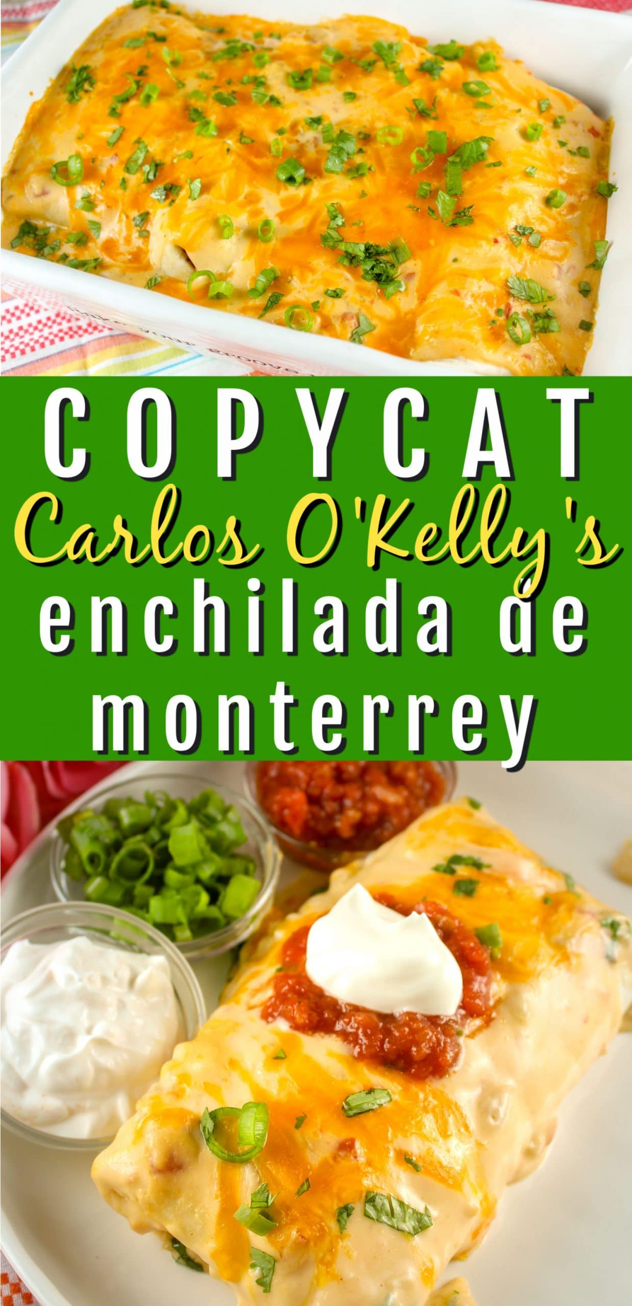 One of the best selling dishes at Carlos O'Kelly's is their Enchilada de Monterrey! Pulled Chicken and Monterrey Jack rolled in a flour tortilla and covered with cheese enchilada sauce - it's so good!  via @foodhussy