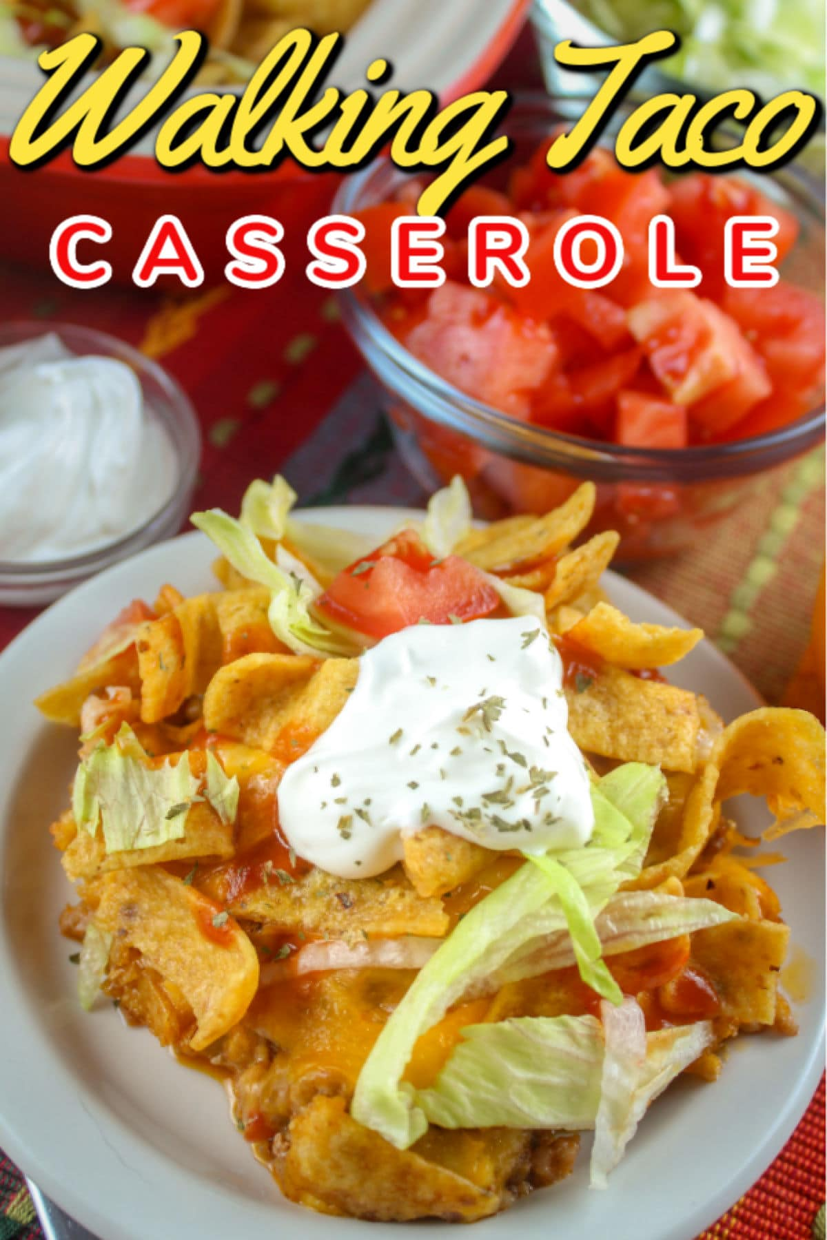 It's football season again and I still remember making Walking Tacos at the football game concession stand. But as a grown up - I don't need to hold a bag of chips for dinner so I made this delicious Walking Taco Casserole!  via @foodhussy