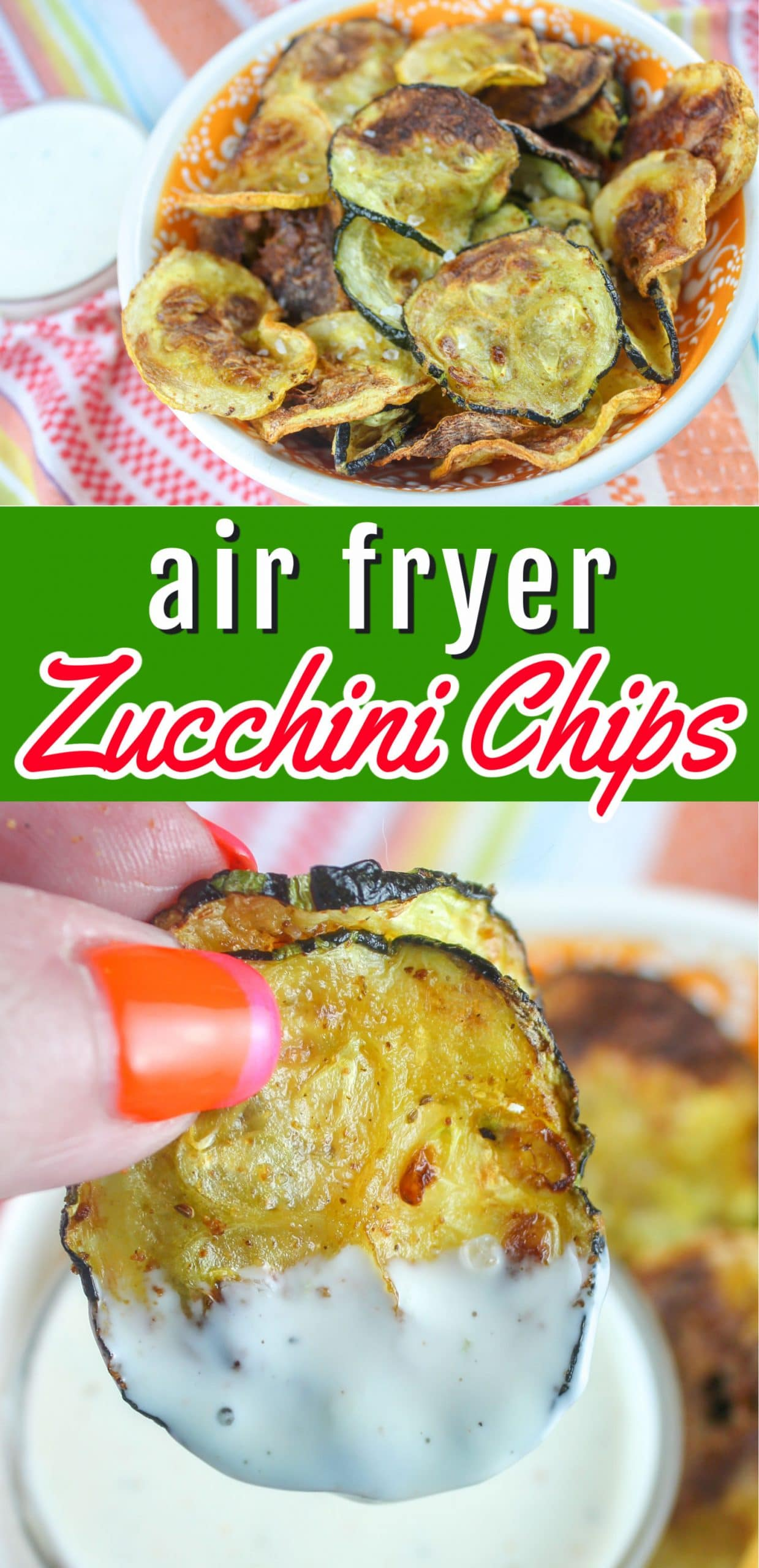 I love my breaded veggies in the air fryer but sometimes a simple EVOO + seasoning is best! These Air Fryer Zucchini Chips are just the side dish for that treatment. Zucchini doesn't have a ton of flavor on it's own - so just adding a bit of EVOO and garlic herb makes it so delish! via @foodhussy