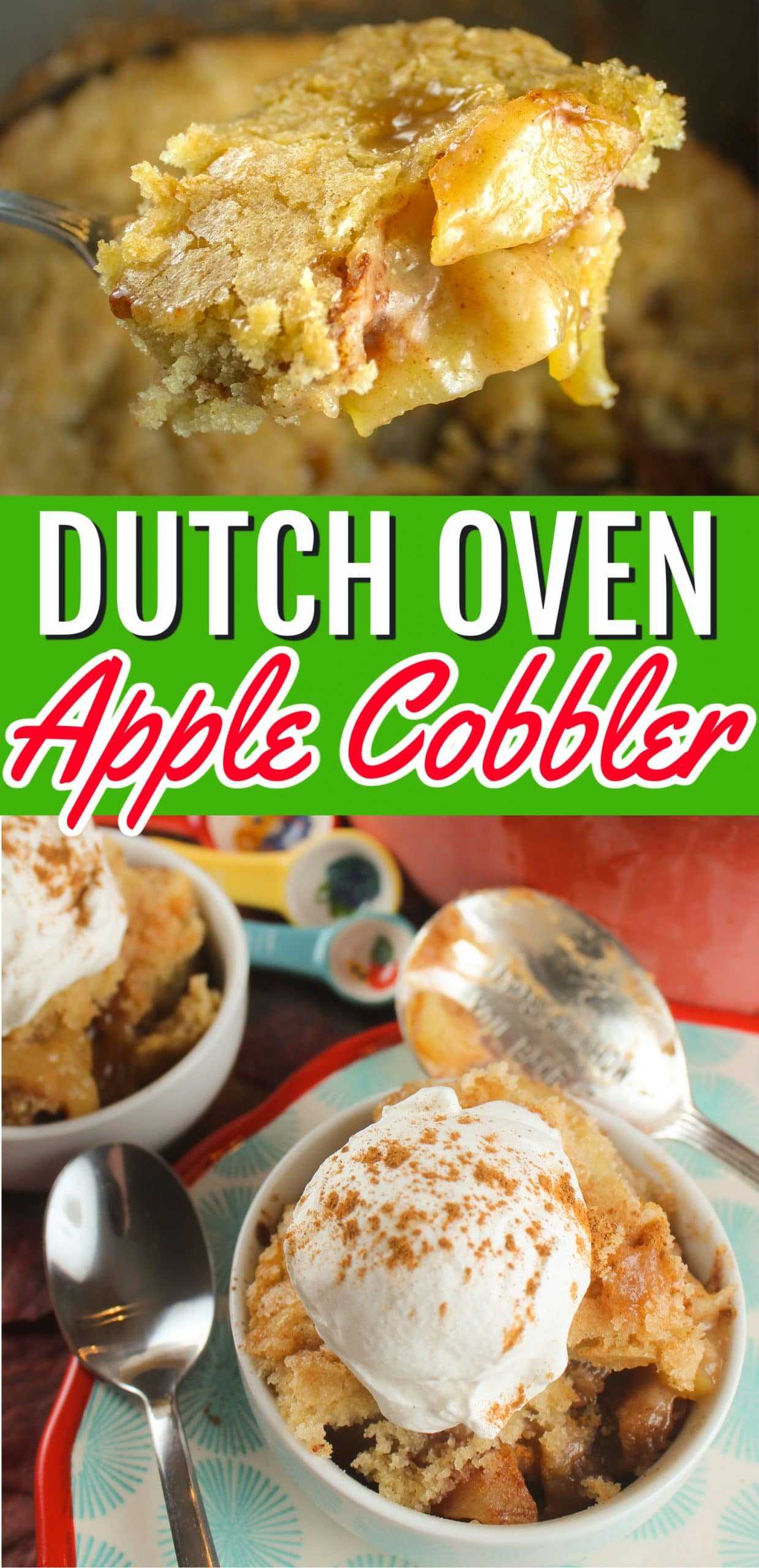 Dutch Oven Apple Cobbler is a tasty, warm and comforting dessert that goes together in ten minutes. Mine has a delicious sugary crust that everyone will love!  via @foodhussy
