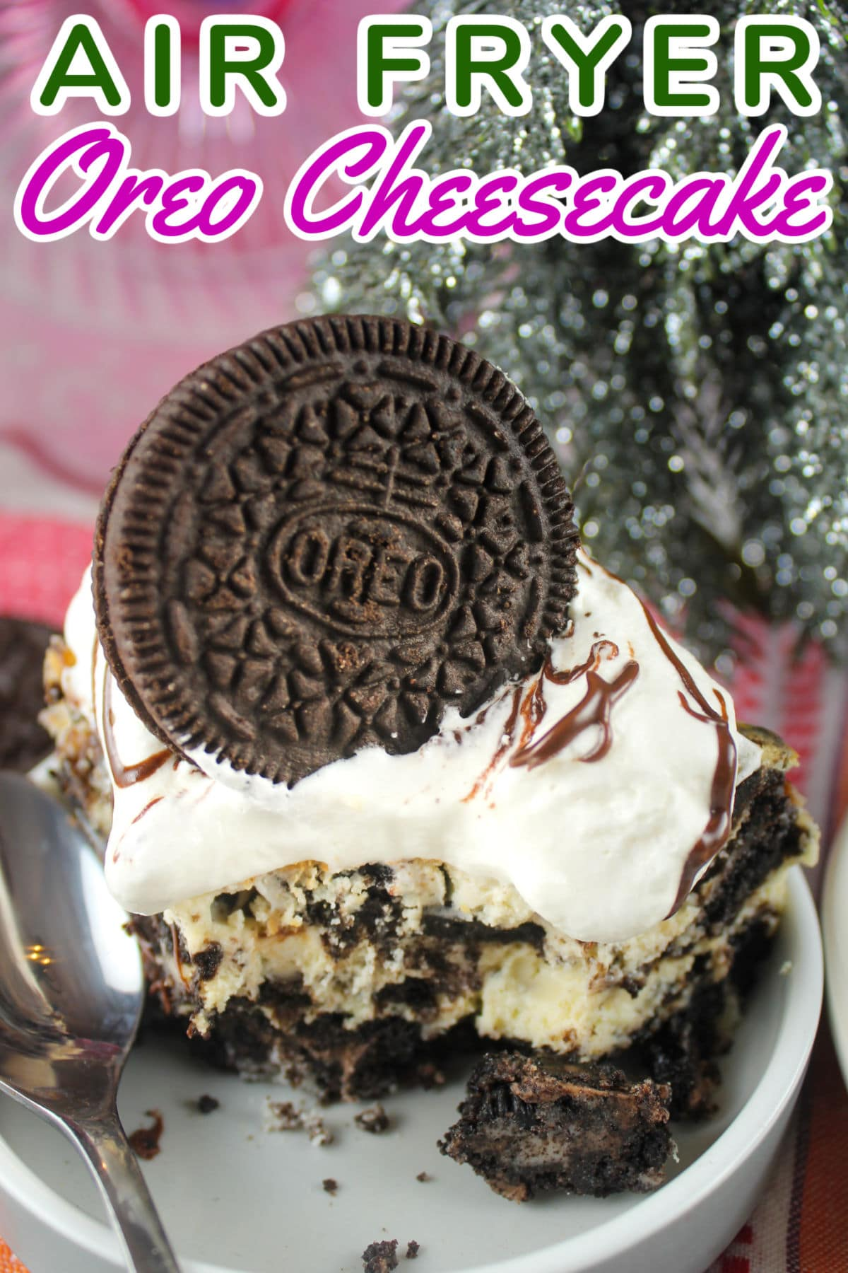 This Air Fryer Oreo Cheesecake was a milestone for me! I've had a food blog for 10+ years and never made a real cheesecake - UNTIL NOW! It's actually fairly simple and even quicker in the air fryer!  via @foodhussy
