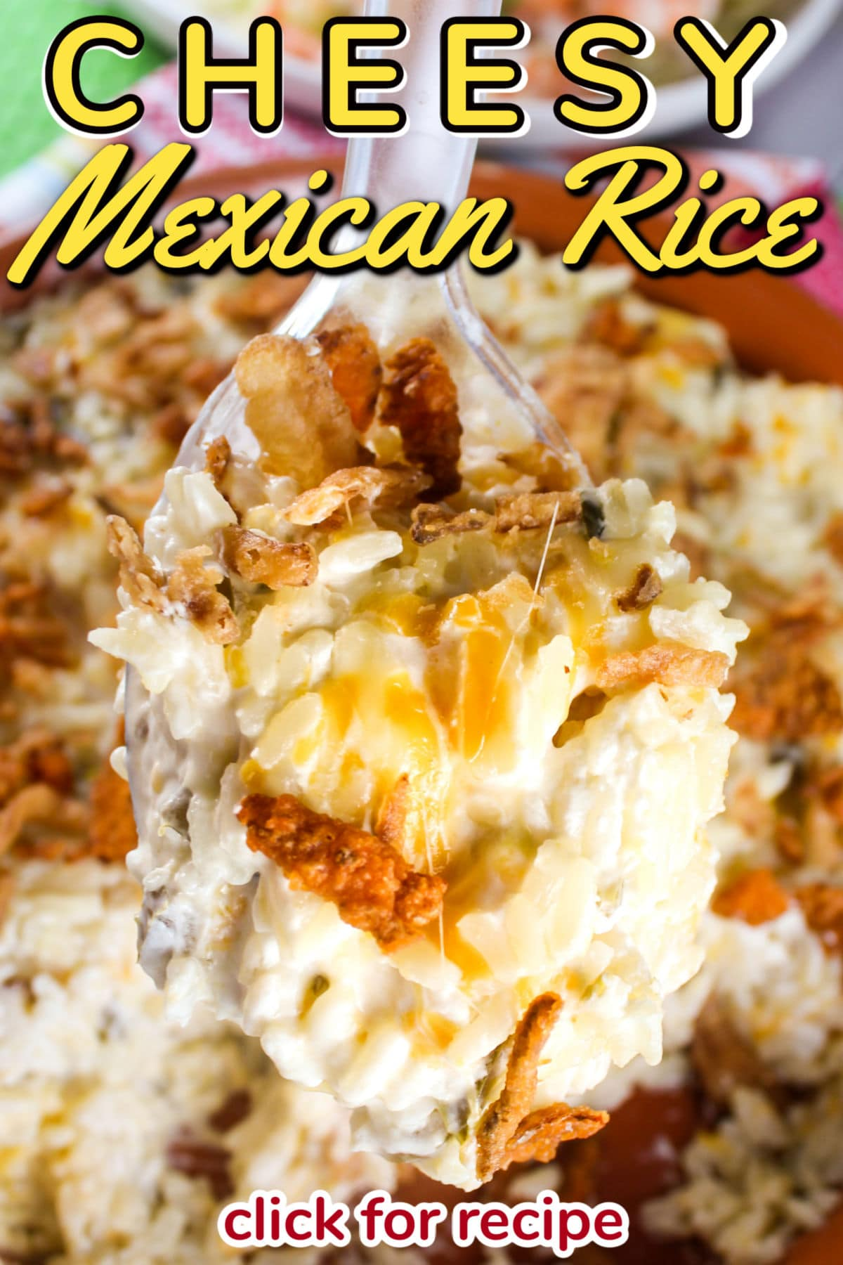 This Cheesy Mexican Rice Recipe is not only simple - but it goes with anything! Whether you want to put some chicken in before you bake it or serve it with your pork chops - this rice will be a family favorite!  via @foodhussy
