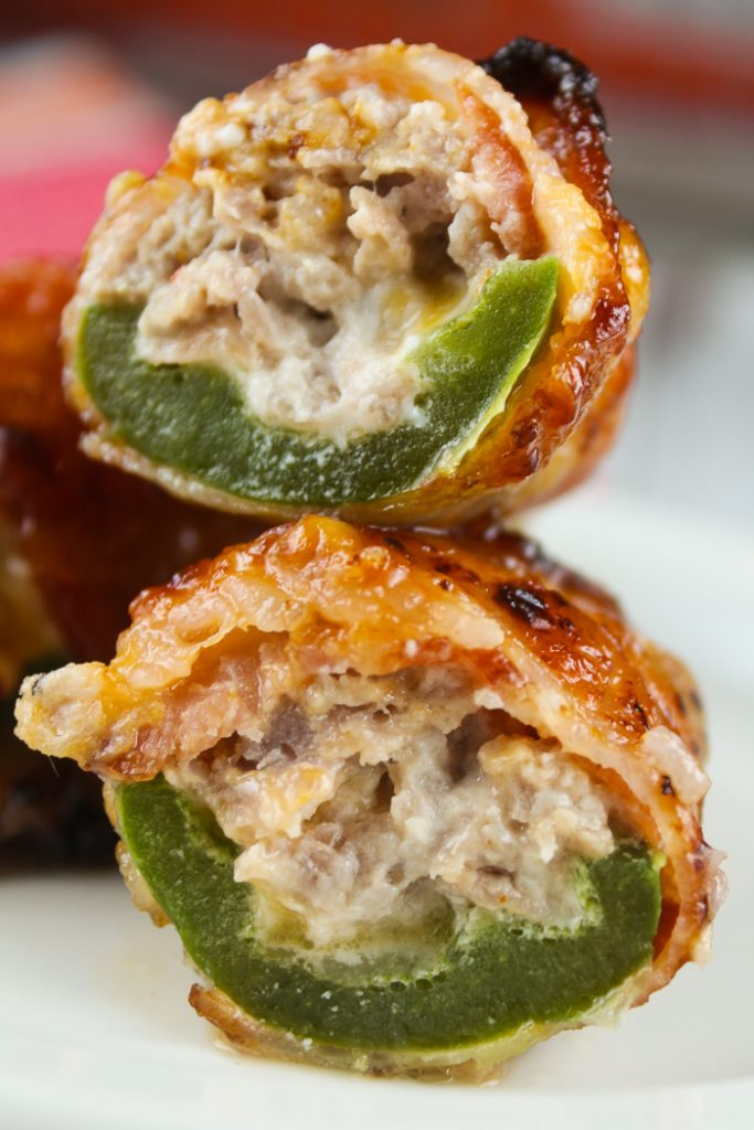 Sausage Stuffed Jalapenos Wrapped in Bacon