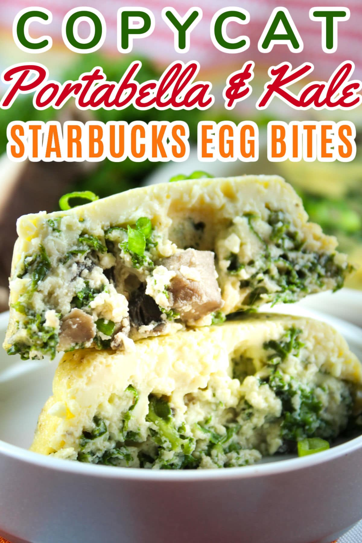These Copycat Starbucks Portabella & Kale Egg Bites are probably the healthiest breakfast I've had in forever! I put my Weight Watchers spin on to lighten them up a bit. :-) The Portabella and Kale are a copycat of their latest version - they also have Bacon & Gruyere and Egg White & Roasted Red Pepper.  via @foodhussy
