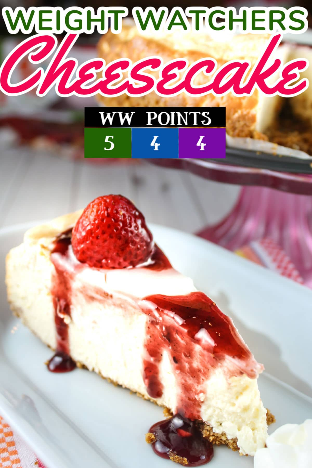"""This Weight Watchers Cheesecake recipe is SO DELICIOUS! You wont' realize it's """"light"""" (I won't actually call it healthy - haha). I started with a Cheesecake Factory Original Cheesecake Recipe and then substituted ingredients to make it healthier.  via @foodhussy"""