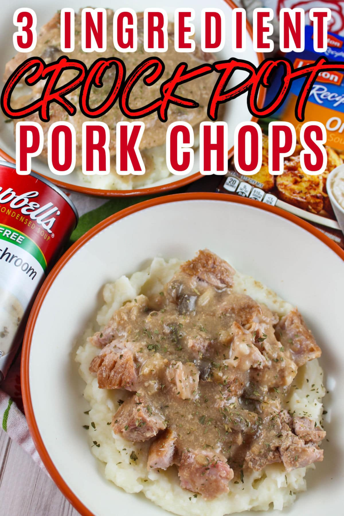 These 3 Ingredient Crock Pot Pork Chops will be a weekly meal in your house once you try them! First of all they're SO EASY!!! Second - they're delicious! Third - there's only THREE INGREDIENTS!!! It took longer to get the crock pot out of the cupboard then it did to make them! via @foodhussy
