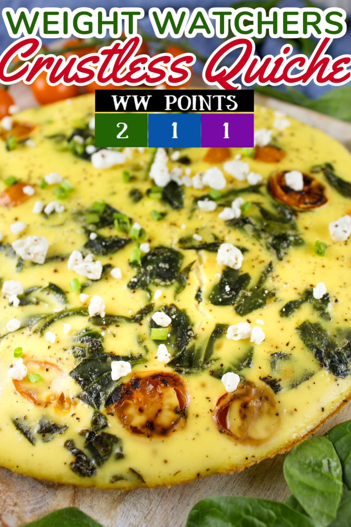 Weight Watchers Crustless Quiche is super easy to make and a very satisfying breakfast for all!  via @foodhussy
