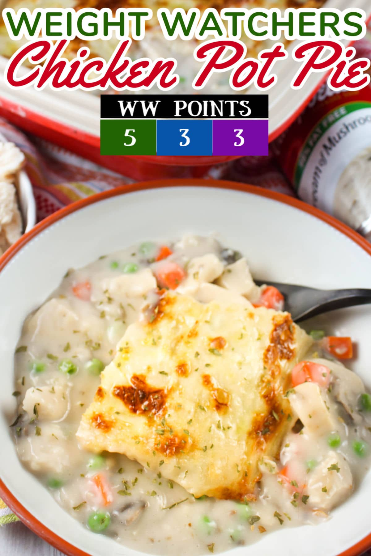 Weight Watchers Chicken Pot Pie is a new favorite for me! I have loved Chicken Pot Pie since I was a little kid and just figured I couldn't have it on WW - but I found a way! This has the same comforting creamy filling but a lot less calories and fat.  via @foodhussy