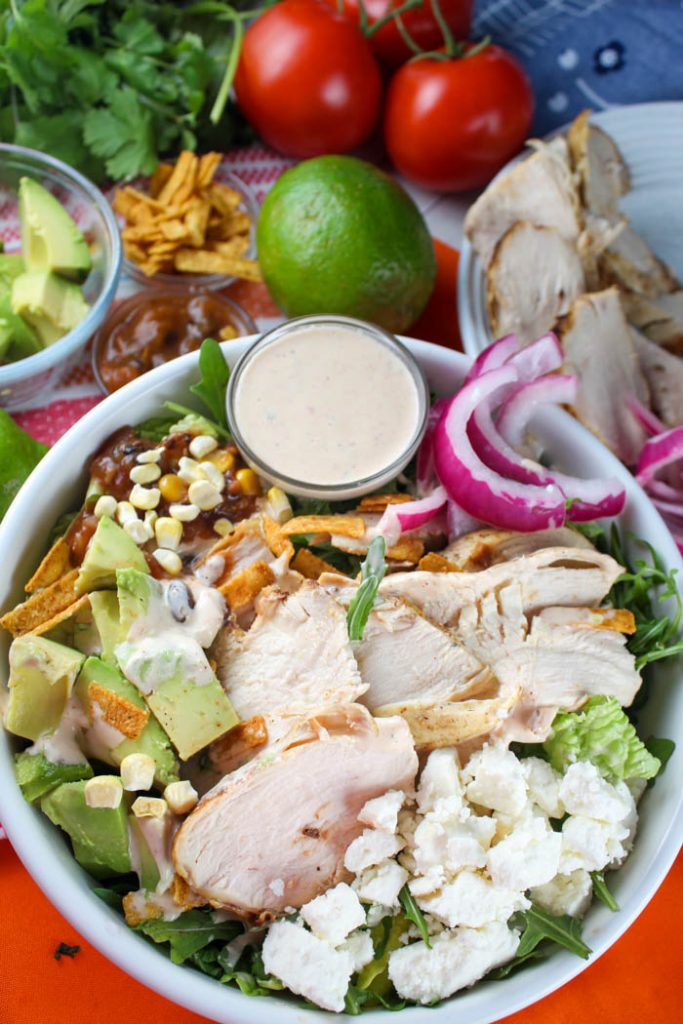 Copycat Panera Southwest Chili Lime Ranch Salad with Chicken