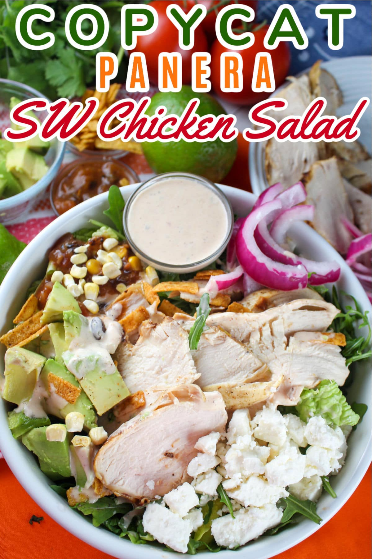 This Copycat Panera Southwest Chili Lime Ranch Salad with Chicken is my absolute favorite!!! I made it three times this past week!!! Once you have all the ingredients - you can't help but make it every day!  via @foodhussy
