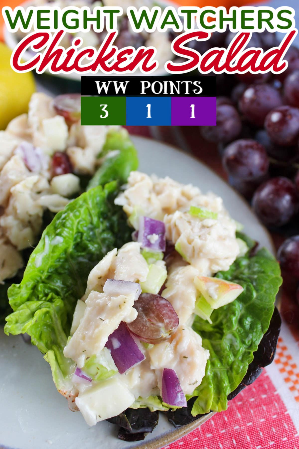 This Weight Watchers Chicken Salad will take care of that craving for chicken salad while still helping you lose weight! It's light and crunchy with a touch of sweet - and it's my new favorite lunch!  via @foodhussy