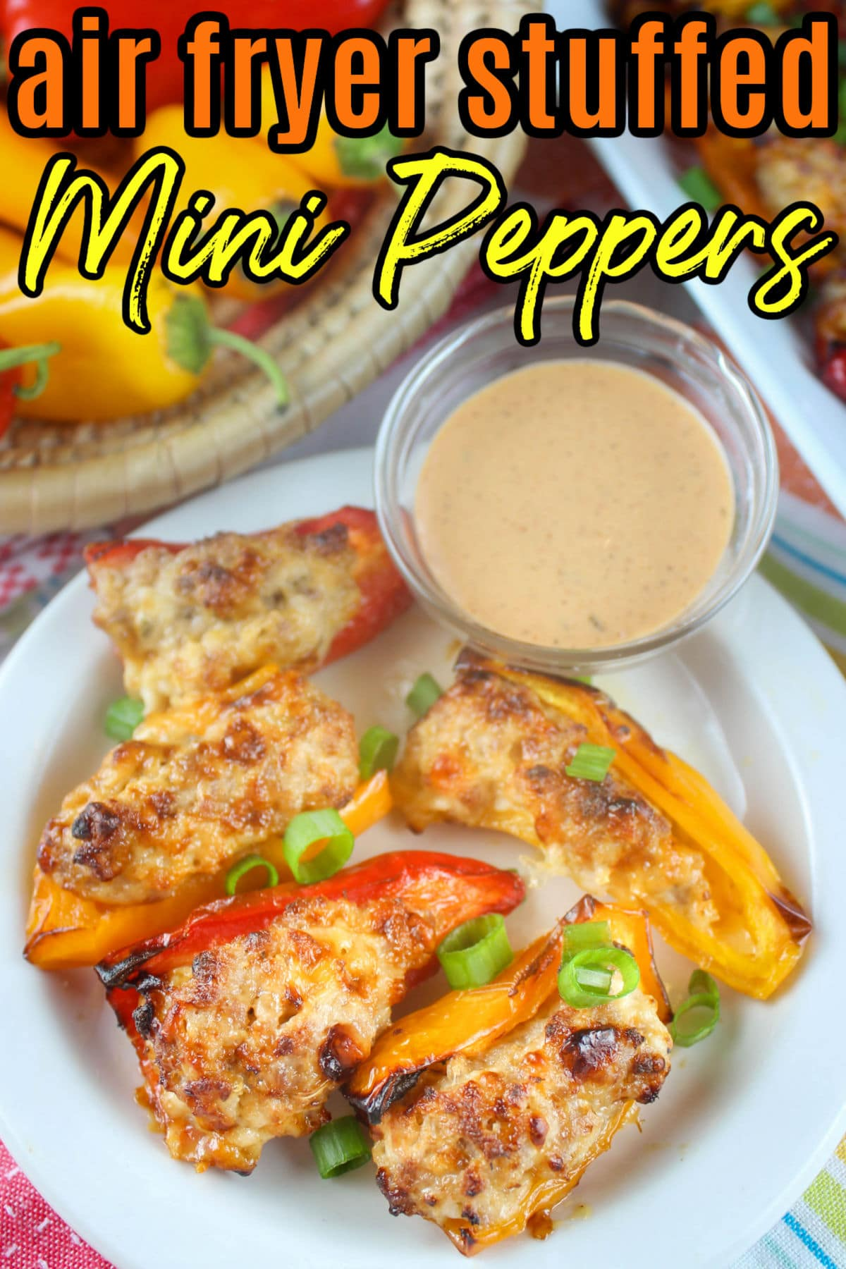 Air Fryer Stuffed Mini Peppers are one of my favorite tasty treats to make - it can be an appetizer or a meal! Those bags of mini peppers are the perfect size for popping in your mouth! Filled with sausage, cream cheese and more - you'll love them!  via @foodhussy