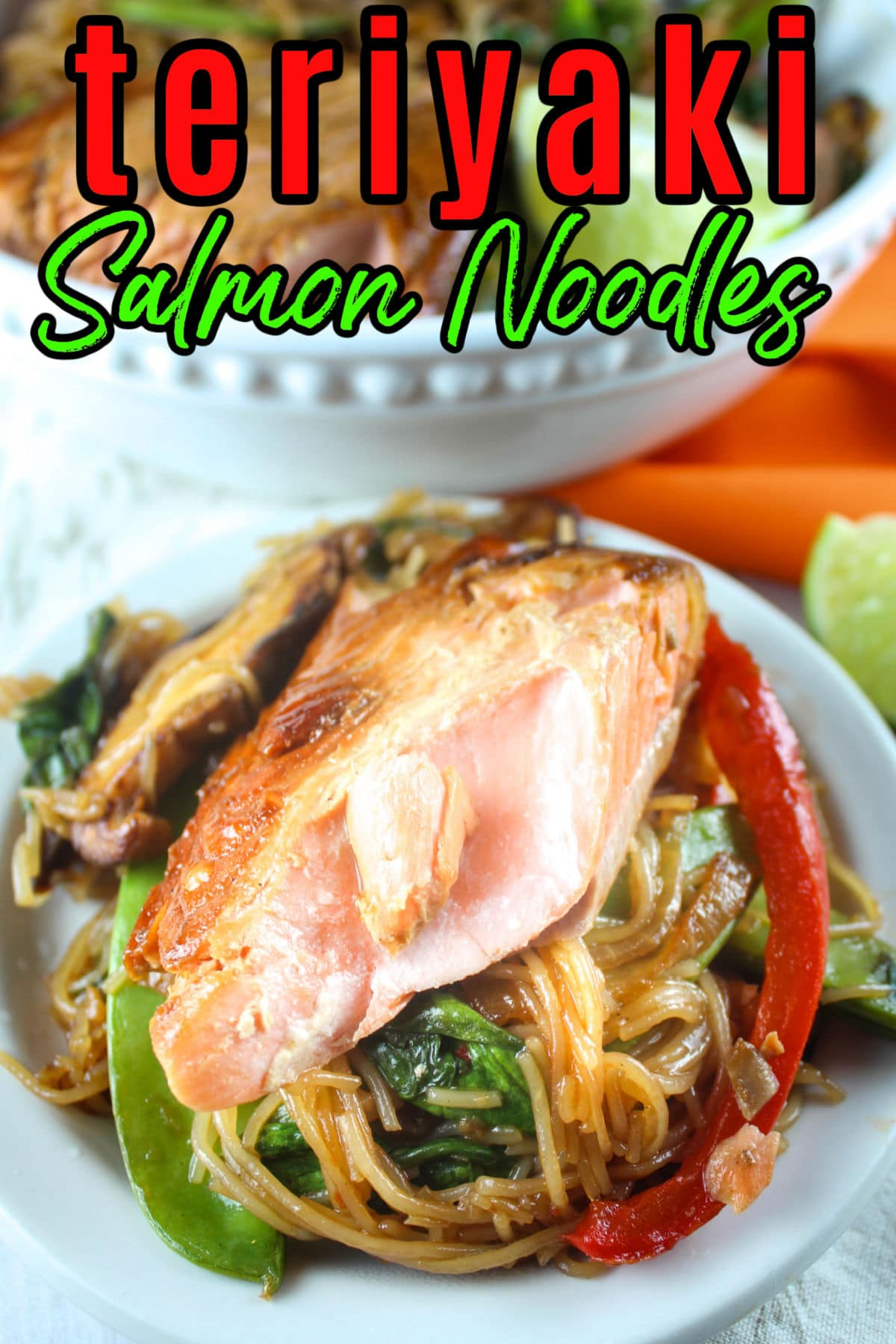 Teriyaki Salmon Noodles are a delicious, healthy and quick dinner - great for any night of the week! The Teriyaki is sweet and there are LOADS of vegetables in the noodles - it's a great one-bowl dish!  via @foodhussy
