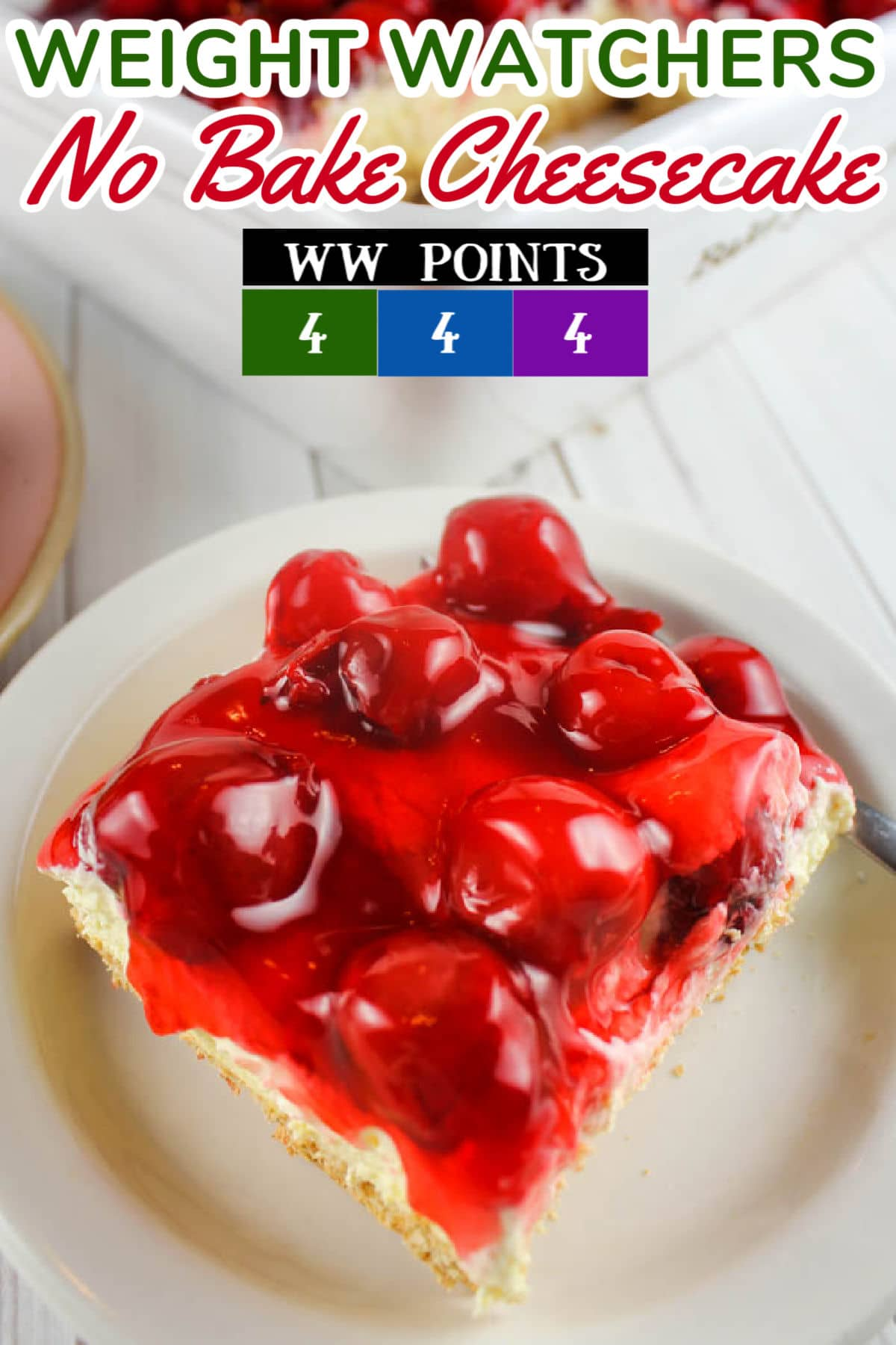 Weight Watchers No Bake Cheesecake is an easy-to-make, delicious dessert that actually fits into a diet plan! I'm a big fan of cherry pie filling for the topper - doesn't it look amazing?!  via @foodhussy