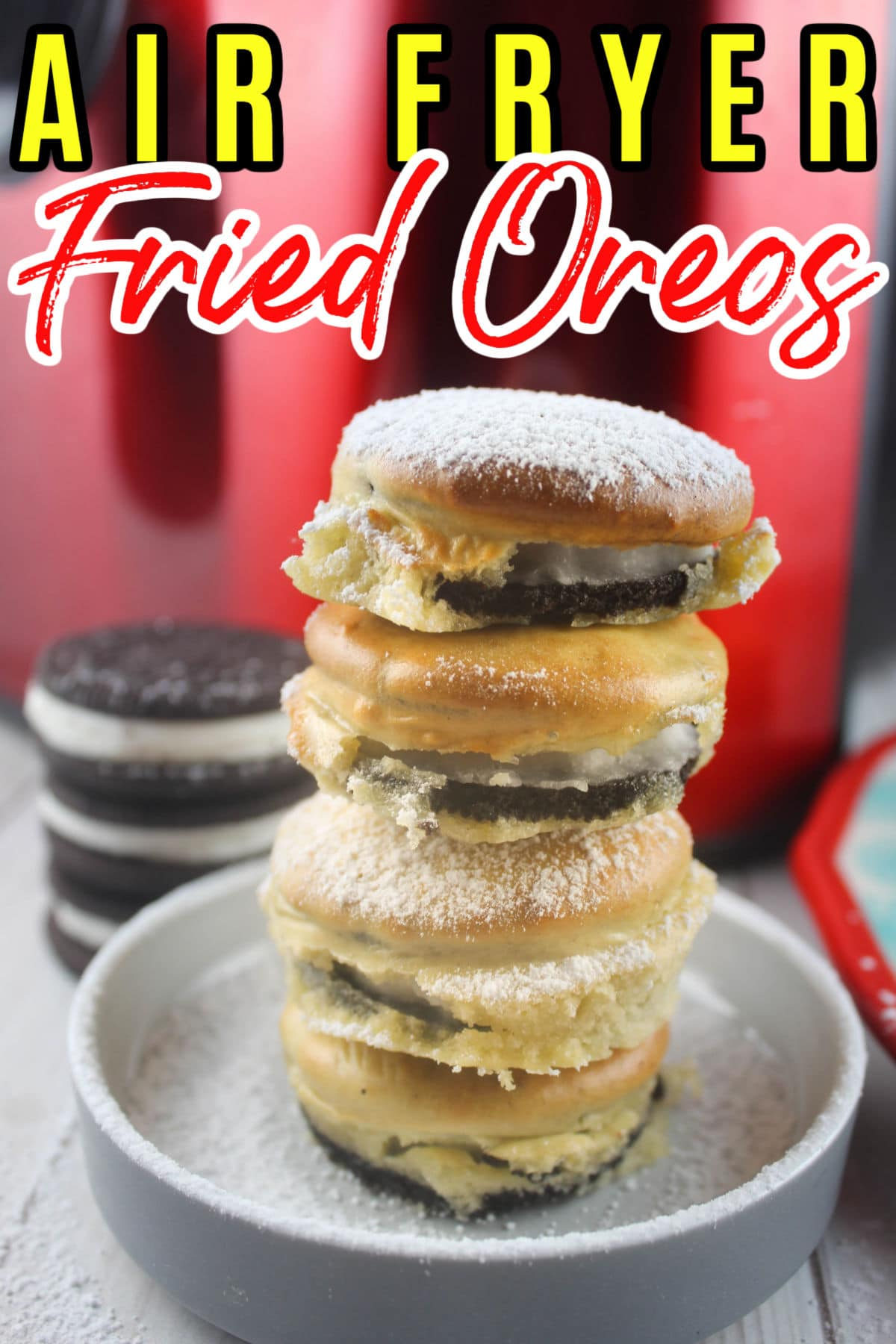 Air Fryer Fried Oreos are such a delicious treat - they have all the yum of the fair food delicacy but much less of the junk food factor! You're going to be hard pressed to find something tastier for dessert or a snack.  via @foodhussy