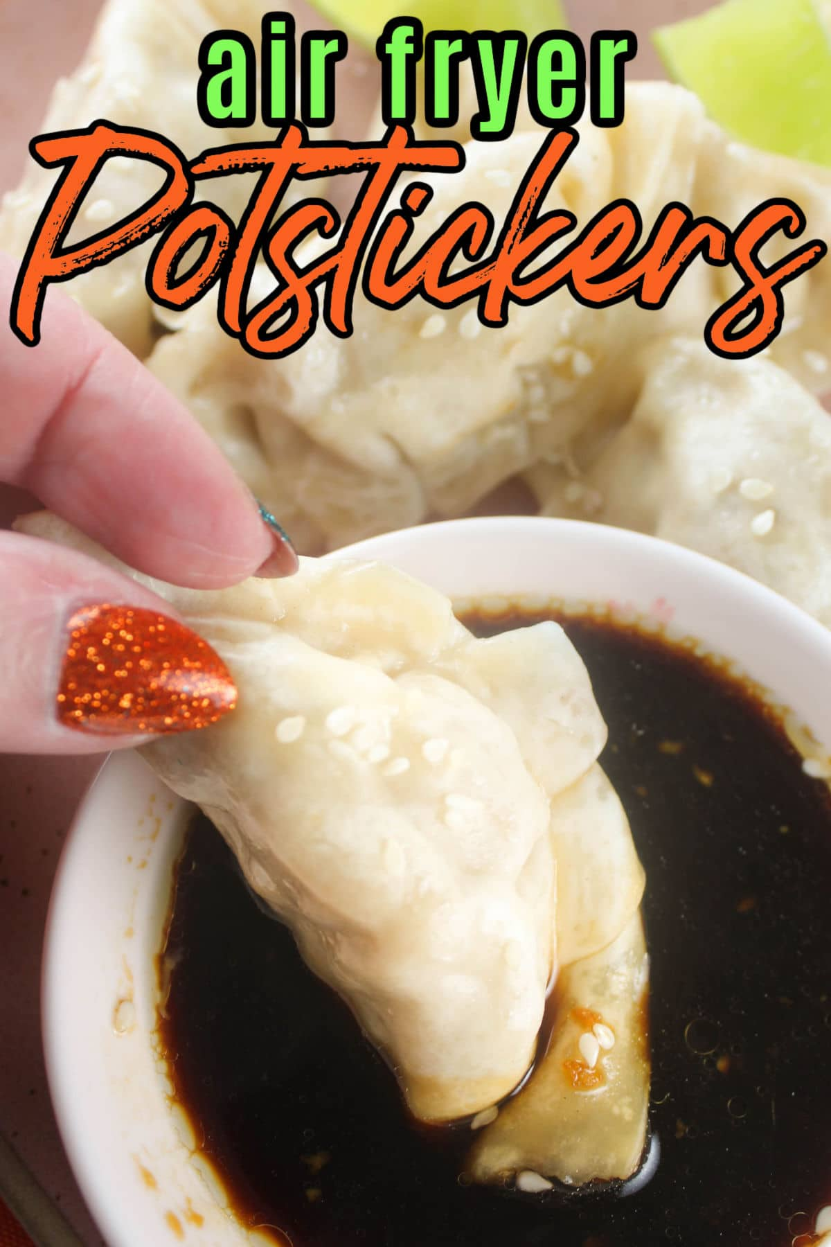 Frozen Potstickers in an air fryer are done in half the time with no mess! I also whipped up a little sauce in about 1 minute that goes great and is much fresher than the packet that comes in the box. via @foodhussy