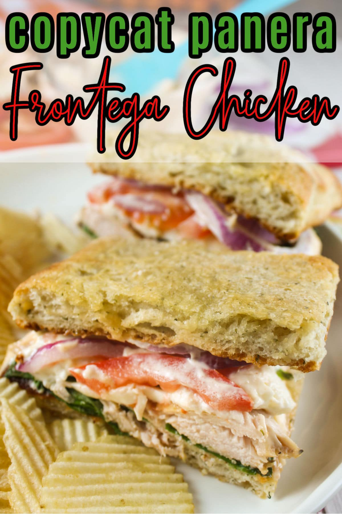 This copycat Panera Frontega Chicken Sandwich is filled with smoky pulled chicken, mozzarella, tomatoes and more all on crunchy focaccia bread. I made this at home with fresh baked bread and fresh ingredients and it was even more delicious than the Panera version!  via @foodhussy