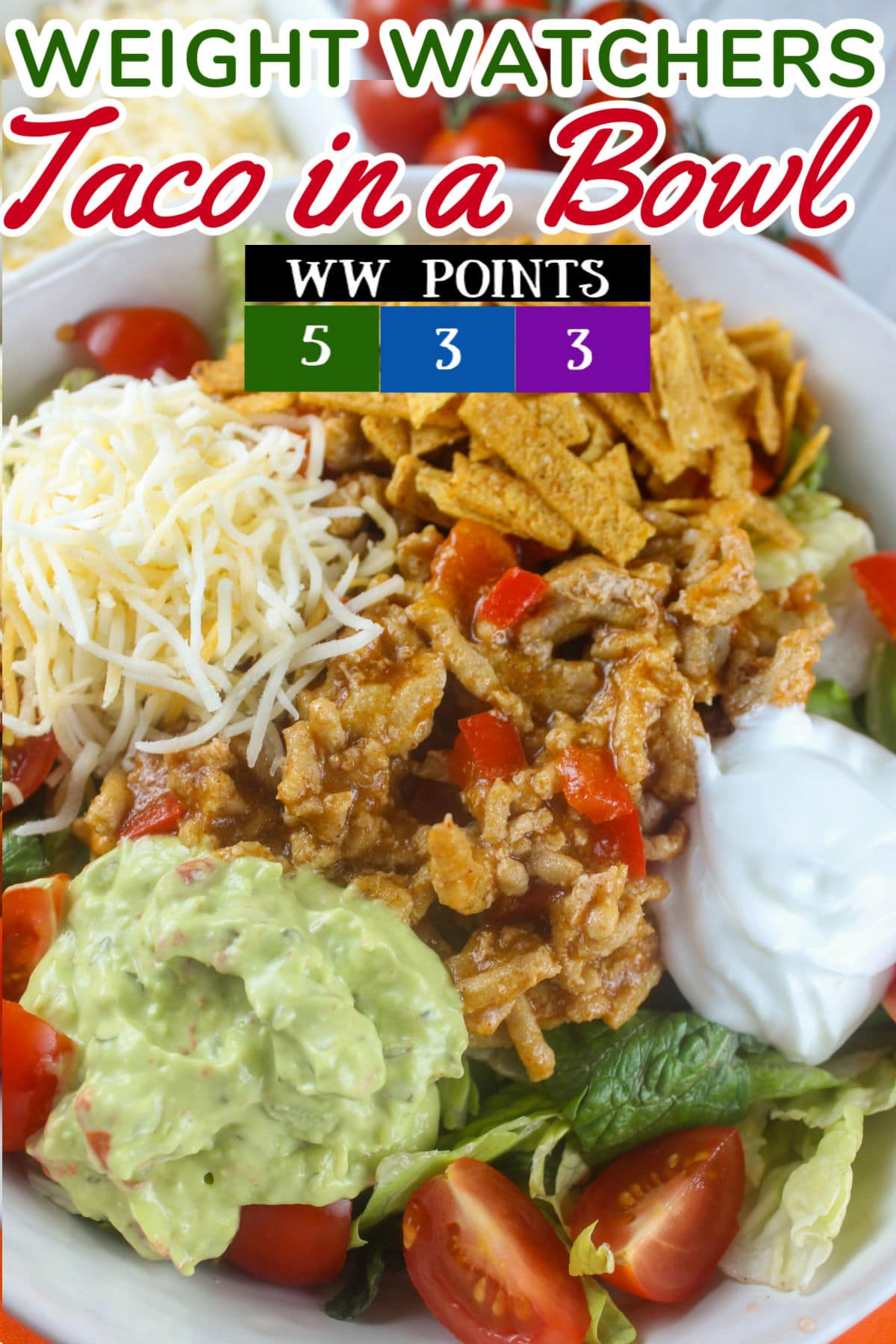 Weight Watchers Taco in a Bowl is an easy-to-make dinner that's on the table in about 15 minutes! Ground turkey is easy to cook and takes on the flavor of the taco seasoning but saves lots of calories!  via @foodhussy