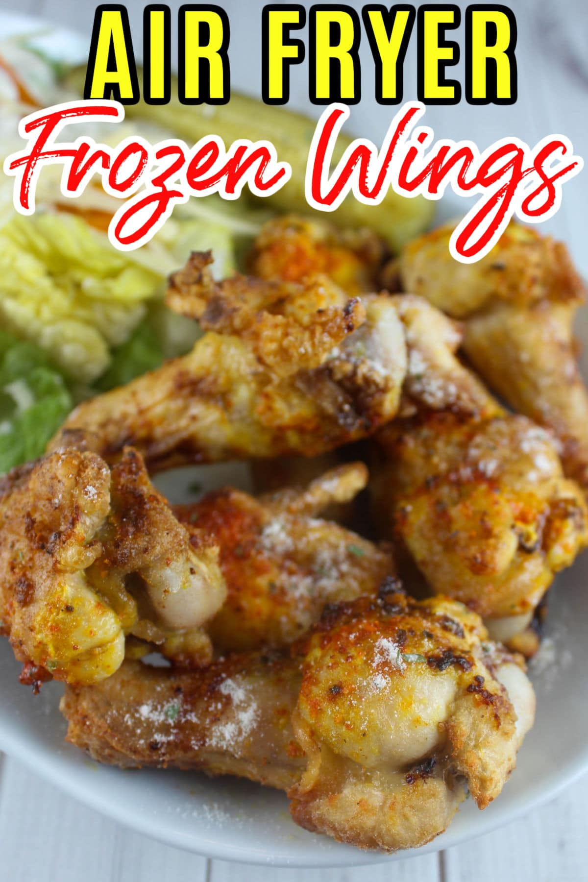 Frozen wings in the air fryer are so simple! There's a couple tips for seasoning them but they're done from frozen in just 20 minutes! You'll never buy those pre-cooked wings again! via @foodhussy
