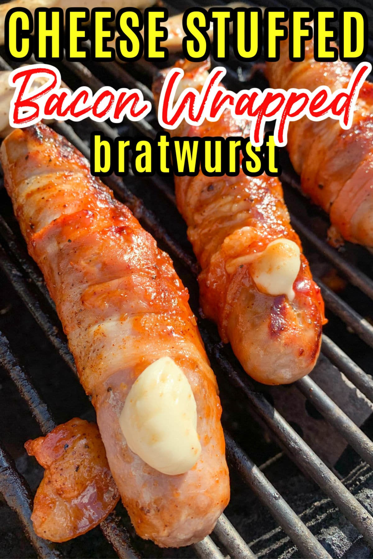 Cheese-stuffed bacon wrapped bratwurst are amazingly delicious on the grill! I saw this on TikTok and HAD to make them at home. So easy to make too - just takes 15 minutes of prep and it's worth it!  via @foodhussy