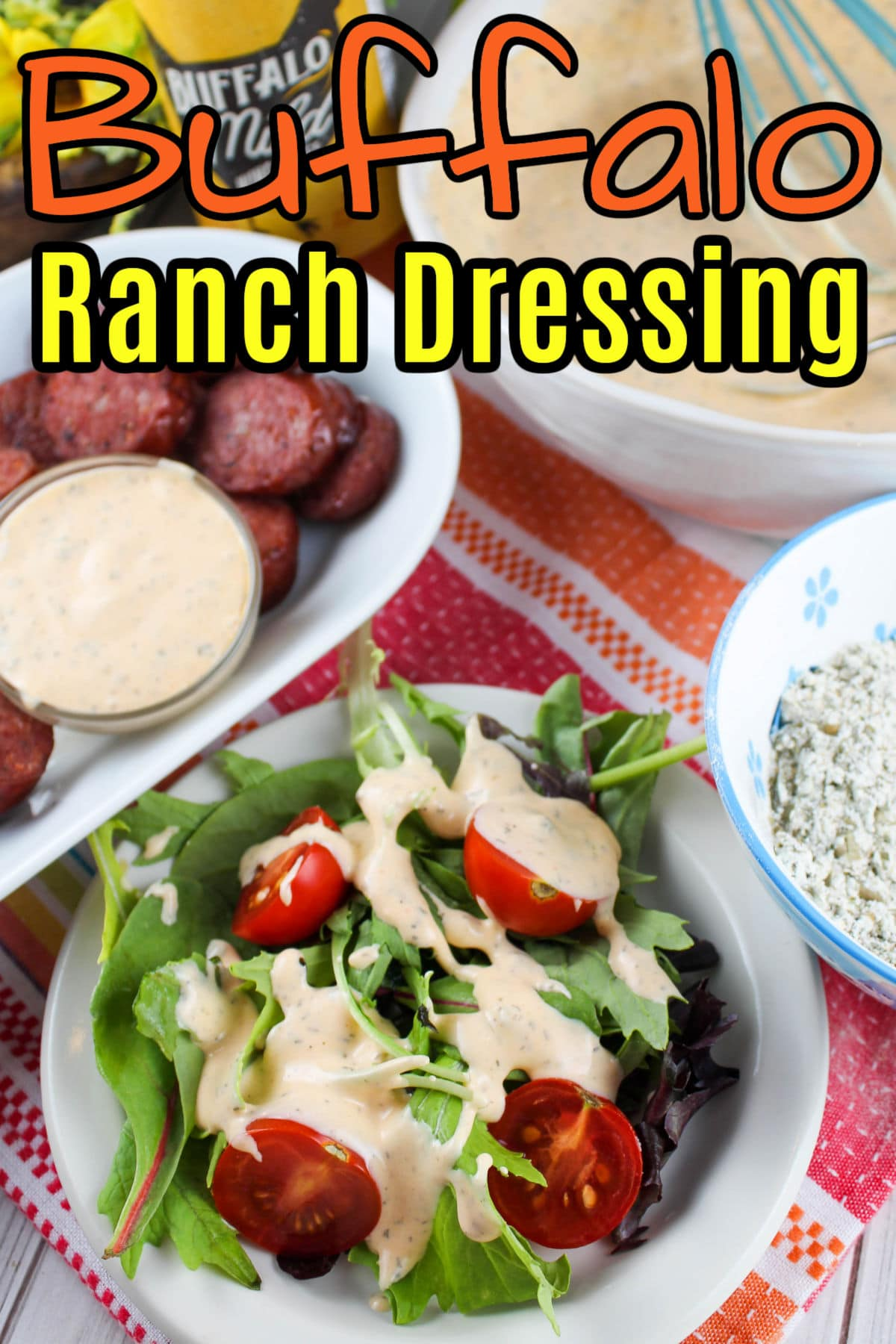 This Buffalo Ranch Dressing is my new favorite dressing! It's got the zing of ranch and the zip of Buffalo. Plus - it makes enough seasoning so you can make more delicious ranch dressing (with or without the Buffalo) later.  via @foodhussy