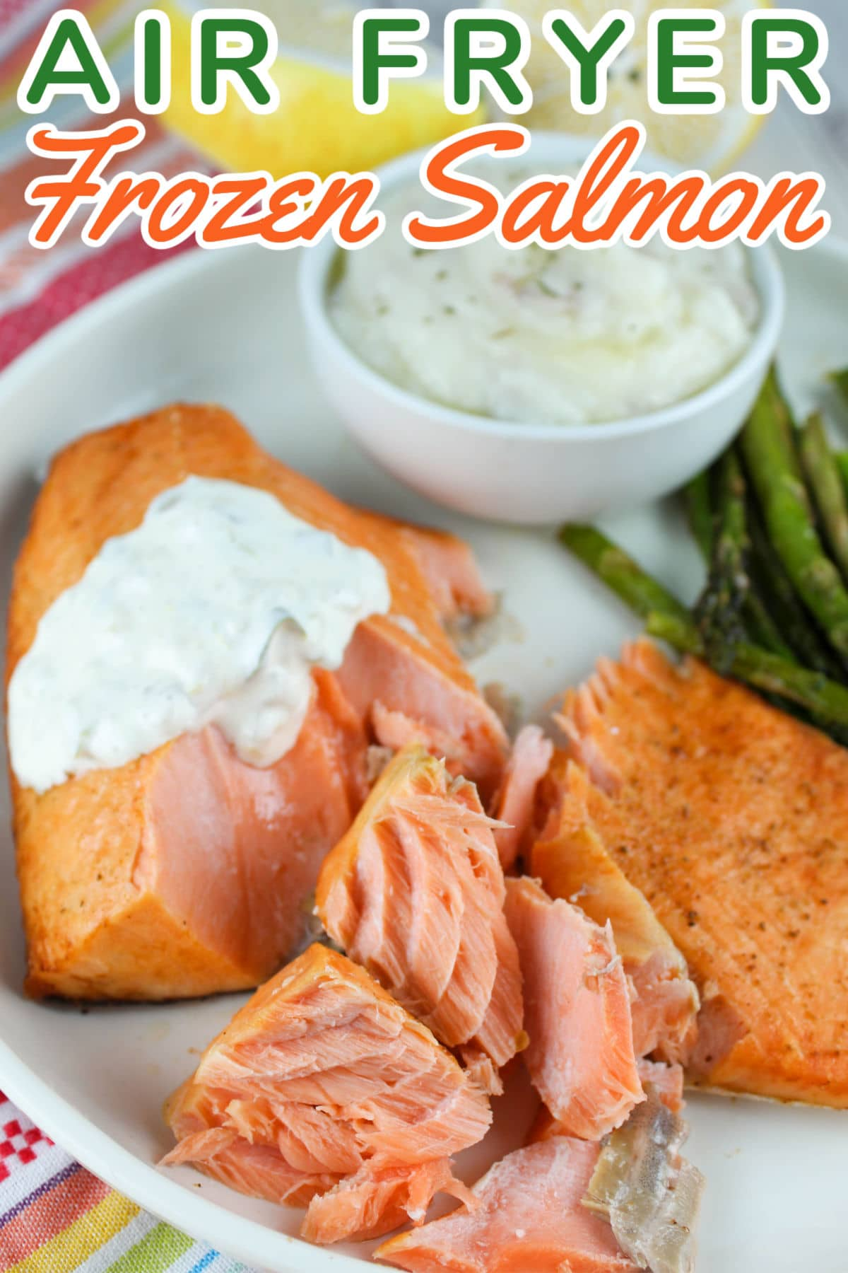 Frozen salmon in the air fryer is a great QUICK dinner when haven't done any planning! It's on the table in 15 minutes and you can even add veggies while the salmon is cooking. via @foodhussy