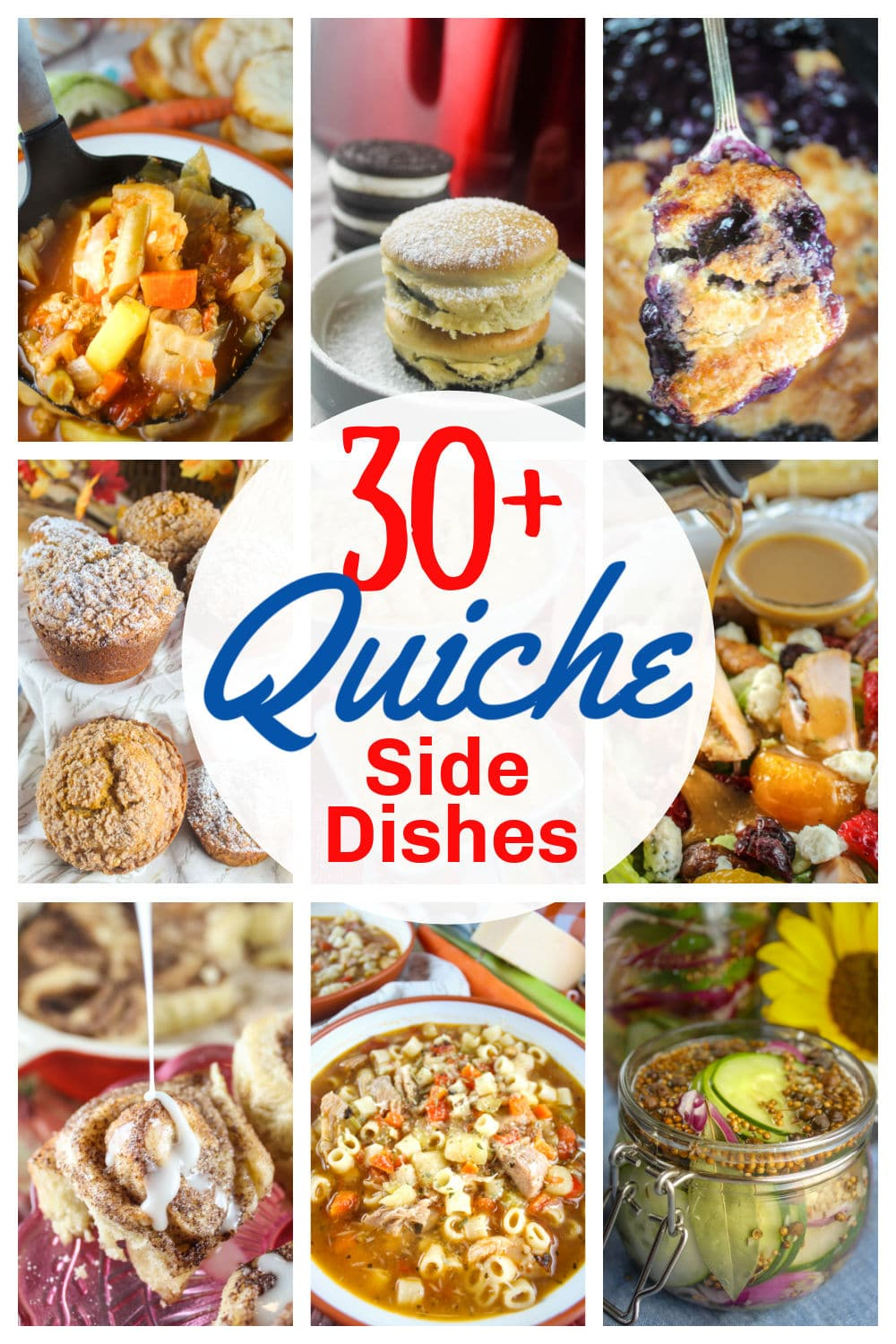 What side dishes should you serve with Quiche? I mean – you've got typically got eggs and cheese – so where do you go from there? I've got 30+ side dish recipes from salads to breads to dessert that all pair great with quiche.  via @foodhussy