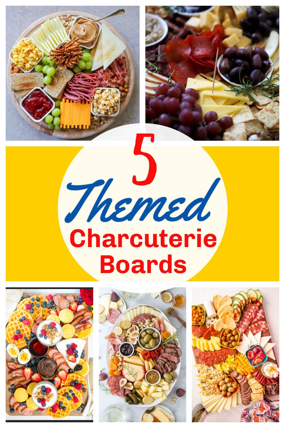 Charcuterie Boards are so fun to have for every occasion! I've got five themed boards that will fit any party you've got coming up. The key ingredients to charcuterie boards are meat, cheese, fruit, spreads and crackers and these themes will make all of those come to life! via @foodhussy