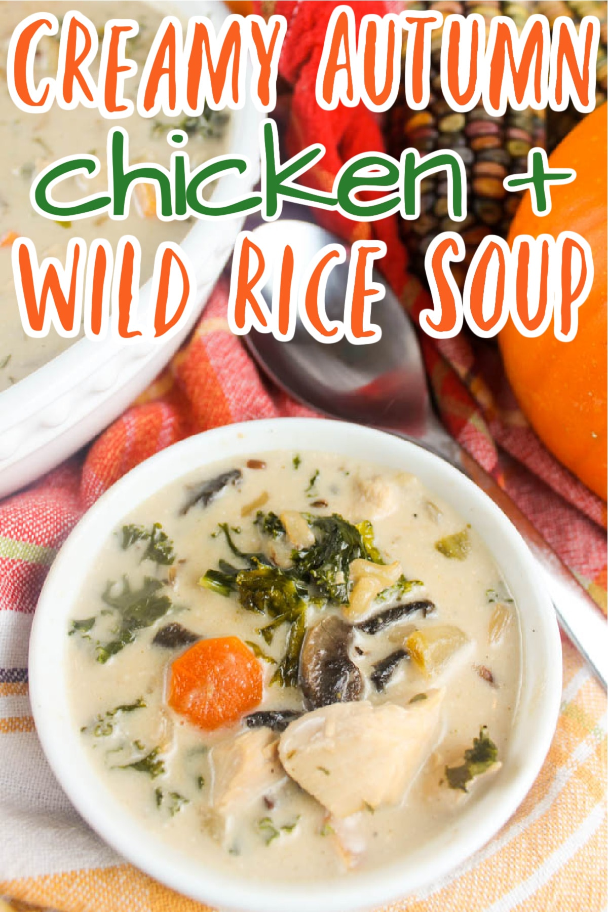 This Creamy Autumn Chicken & Wild Rice Soup is absolutely the perfect step into fall we all need! It starts with LOTS of veggies, including sweet potato, kale and mushrooms, and finishes with chicken broth and cream - for a perfectly balanced comforting bowl of yum!  via @foodhussy