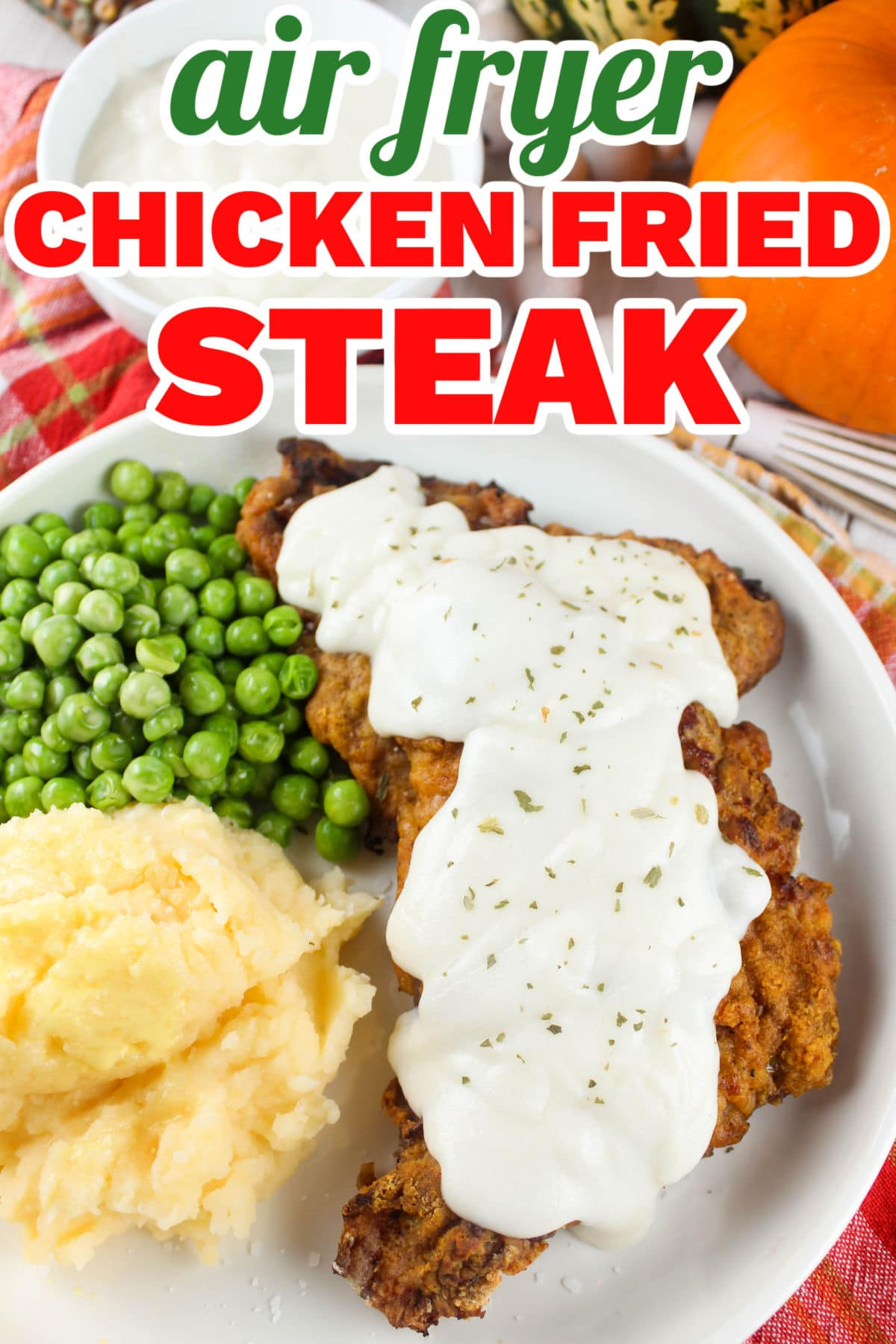 Air Fryer Chicken Fried Steak is so simple and just as comforting as you would expect! Crunchy coating over tenderized steak and topped with that creamy white gravy just like grandma (or Cracker Barrel) used to make! The bonus - much less oil and calories! via @foodhussy
