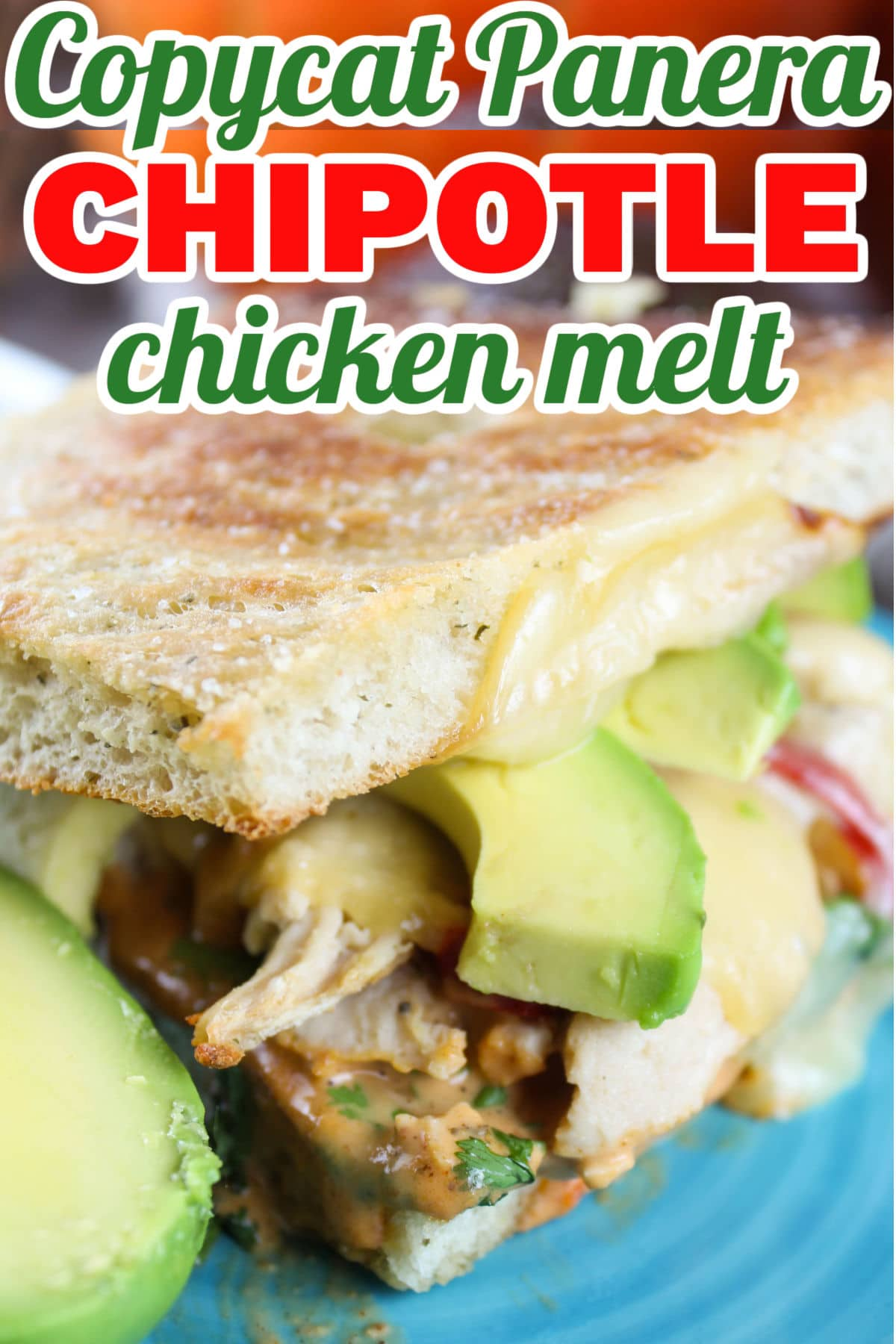 This Copycat Panera Chipotle Chicken Avocado Melt is one of my favorites from Panera! Pulled chicken, smoked Gouda, fresh avocado, cilantro, zesty sweet peppers and chipotle sauce on fresh baked focaccia. via @foodhussy